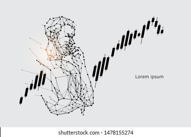 The particles, geometric art, line and dot of human thinking. abstract vector illustration. graphic design concept of creating. - line stroke weight editable