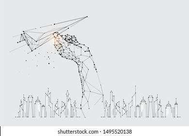The particles, geometric art, line and dot of flying paper rocket. abstract vector illustration. graphic design concept of movement. - line stroke weight editable