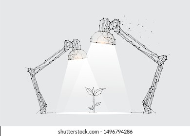 The particles, geometric art, line and dot of lamp lighting. abstract vector illustration. graphic design concept of spot light. - line stroke weight editable