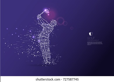 The particles, geometric art, line and dot of golf player action. abstract vector illustration.  graphic design concept of sport motion. - line stroke weight editable
