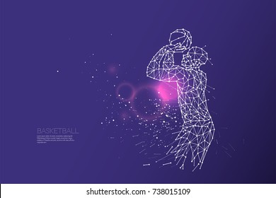 The particles, geometric art, line and dot of basketball shooting. abstract vector illustration.  graphic design concept of sport. - line stroke weight editable