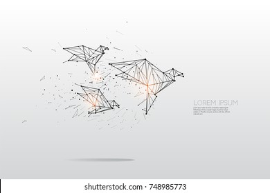 The particles, geometric art, line and dot of bird flying abstract vector illustration.  graphic design concept of motion - line stroke weight editable