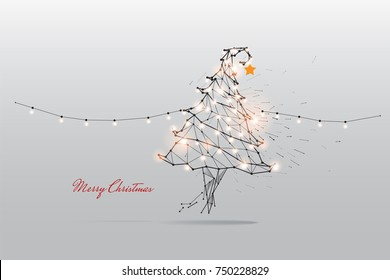 The particles, geometric art, line and dot of Merry Christmas.