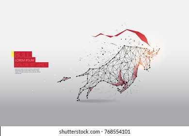 d7a831e7aaf The particles, geometric art, line and dot of Bull moving abstract vector  illustration.