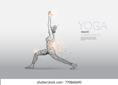 The particles, geometric art, line and dot of Yoga abstract vector illustration.  graphic design concept of relax exercise. - line stroke weight editable