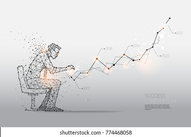 The particles, geometric art, line and dot of Human working hard. abstract vector illustration.  graphic design concept of business - line stroke weight editable