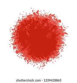 Particles grain or sand assembled in a circle live coral color. Vector backdrop texture shards, pieces or splashes of watercolor abstraction imitation. Illustration grunge textures for design. Eps10.