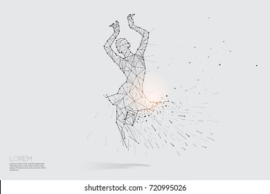The particles line and dot of lady dance . abstract vector illustration.  graphic design concept of dancing. - line stroke weight editable