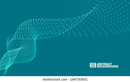 Particles liquid dynamic flow. Glittering dust of lights. Big data visualization. Graphic concept for your design.