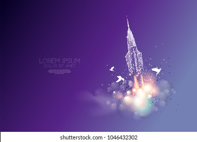 The particles, polygonal, geometric art - space shuttle releasing. abstract vector illustration. concept of starting - line stroke editable