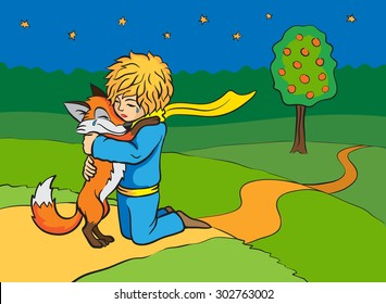 Parting of the little prince and the fox