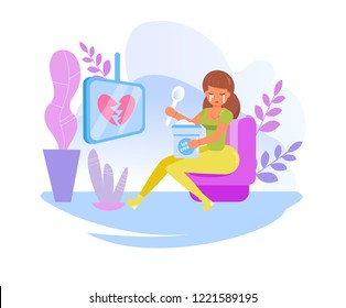 Parting. Lonely woman eating ice cream Vector. Cartoon. Isolated art on white background. Flat