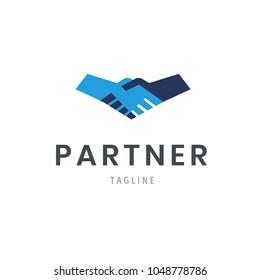 Partner logo template handshake icon. Hand Shake isolated deal symbol design. Agreement sign vector illustration.