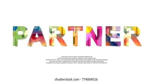 Partner word creative design Concept . Modern Vector Illustration concept of word Partner