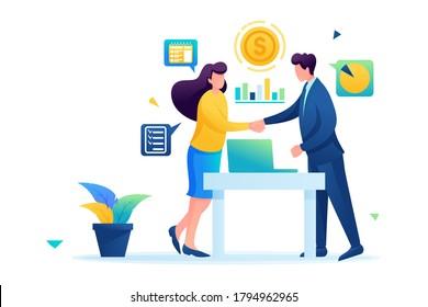 Partners have reached a profitable cooperation, business partnership. Flat 2D. vector illustration web design