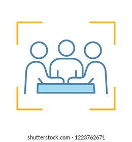 Partners, investors, businessmen color icon. Company meeting, conference. Friends, colleagues, coworkers, co-founders in focus frame. Board of directors. Isolated vector illustration
