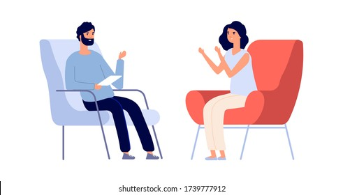Partners talking. Man woman discuss problems. Flat psychotherapist consulting young girl. Female mental disorder, individual psychological consultation vector concept
