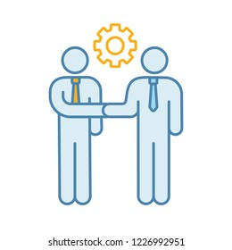 Partnership color icon. Contacts establishment. Business deal. Partners, friends, colleagues greeting. Partnership. Men handshaking. Agreement. Job offer. Isolated vector illustration
