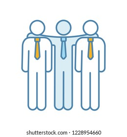 Partnership color icon. Partners, investors, businessmen. Company, corporation. Friends, colleagues, coworkers, co-founders. Board of directors. Friendship. Isolated vector illustration