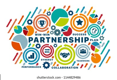 Partnership concept. Chart with keywords and icons. Strategic partnership vector illustration