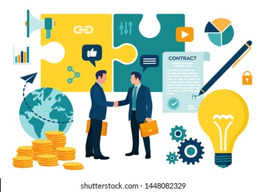 Partnership Concept. Financing of creative projects. Handshake of two business men. Agreement of parties. Signing documents. The investor holds money in ideas. Business team. Vector illustration.