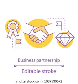 Partnership concept icon. Contacts establishing idea thin line illustration. Business partners. Successful teamwork. Vector isolated outline drawing. Editable stroke