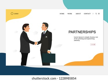 partnership concept landing page. Can use for banner, infographics, landing page. Qualitative vector illustration in flat style isolated on white background.