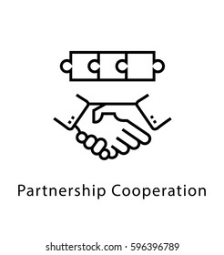 Partnership Cooperation Vector Line Icon