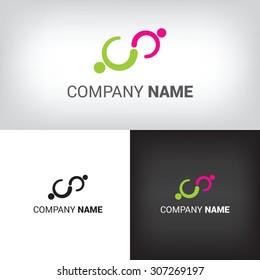 Partnership corporate vector icon, people logo handshake