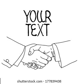 Partnership. Ink sketch, vector illustration on white background with space for text.
