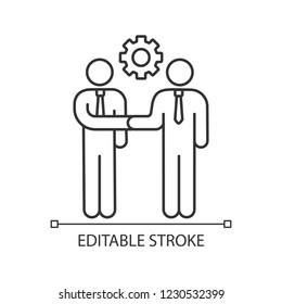 Partnership linear icon. Contacts establishment. Business deal. Partners, friends, colleagues greeting. Thin line illustration. Agreement. Job offer. Contour vector isolated drawing. Editable stroke