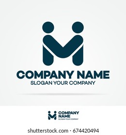 Partnership logo template business concept black color isolated on white background for emblem, icon, logotype, design element consisting of two people shake hands, good deal logo. Vector Illustration