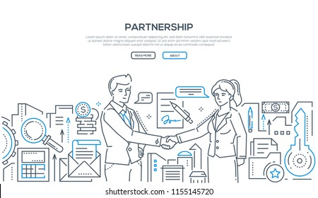 Partnership - modern line design style illustration on white background with place for your text. Two young businessmen shaking hands, making an agreement, signing a contract. Cooperation concept