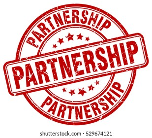 partnership. stamp. red round grunge vintage partnership sign