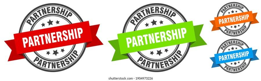 partnership stamp. partnership round band sign set. Label