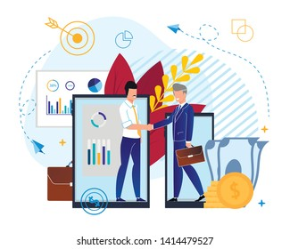 Partnerships in Investment Fund Cartoon Flat. Cooperation Between  Participants Corporate Organization. Men Agree on Parnetcy on Background Electronic Devices. Vector Illustration.