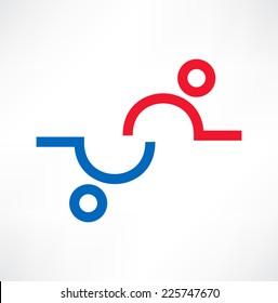 Partnerships and teamwork. Icon. Logo design.