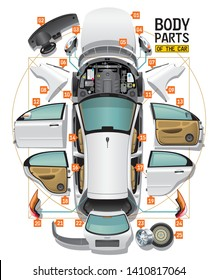 Parts of a body of the white car are spread out on a floor as analysis and entered in a circle and a square, like Leonardo Da Vinci's sketch.