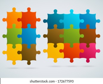 Parts of colorful puzzles. Set of 9, 6 vector pieces