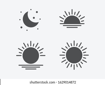 Parts of the Day; Morning, Afternoon, Noon, Sunset and Night Icons, Editable Illustrations
