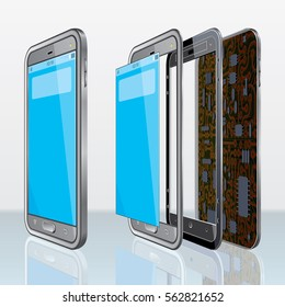 Parts of Disassembled Smart phone on White background. Vector Template.