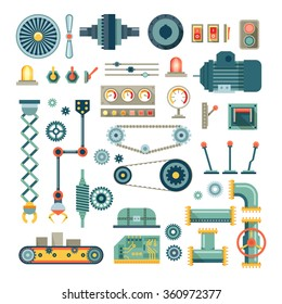 Parts of machinery and robot flat icons set.  Mechanical equipment for industry, technical engine mechanic, pipe and valve, absorber and  button, vector illustration