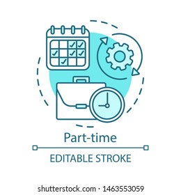 Part-time concept icon. Temporary, short-term employment idea thin line illustration. Job recruitment. Reduced work schedule, flexible timetable. Vector isolated outline drawing. Editable stroke