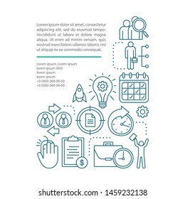 Part-time job article page vector template. Work in shifts. Short-term employment. Brochure, booklet design element with linear icons, text boxes. Print design. Concept illustrations with text space