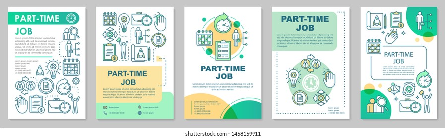 Part-time job brochure template layout. Short-term employment. Job recruitment. Flyer, booklet, leaflet print design with linear illustrations. Vector page layouts for magazines, advertising posters