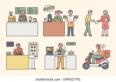 Part-time job staff in various shops. flat design style minimal vector illustration.
