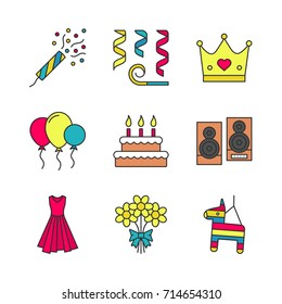 Party accessories color icons set. Holiday slapstick, confetti and whistle, crown, air balloons, birthday cake, speakers, evening gown, bunch of flowers, pinata. Isolated vector illustrations