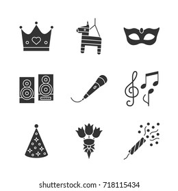 Party accessories glyph icons set. Crown, pinata, carnival mask, speakers, microphone, birthday cap, bunch of flowers, holiday slapstick. Silhouette symbols. Vector isolated illustration