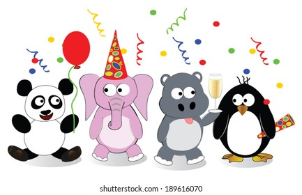 Party Animals Four stylized cartoon animals celebrating at a party. Animals include panda, pink elephant, hippo and penguin