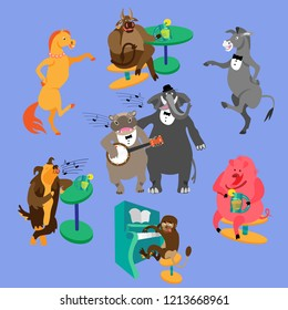 Party animals: hippo with banjo, elephant, dog, monkey with piano, dancing horse and donkey, bull and pig, drinking lemonade. Fine for a greeting card, home pages and invitations to parties and gigs.